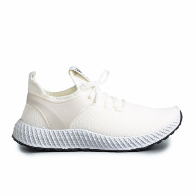 Мъжки бели маратонки от еластичен текстил gr270421-28 2