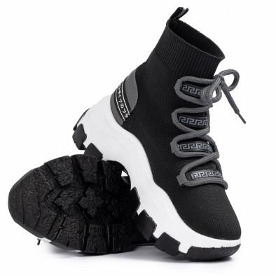 Chunky маратонки чорап в черно и сиво tr231020-2 4