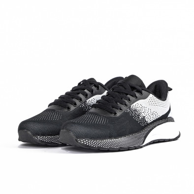 Плетени мъжки маратонки черно и бяло it270320-19 3