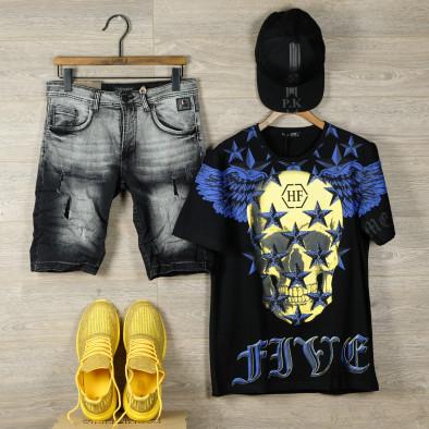 Slim fit мъжки къси дънки в черно it050620-7 4