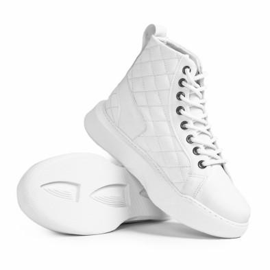 Капитонирани бели високи кецове All white tr050121-3 4
