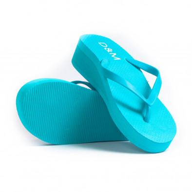 Дамски сини джапанки на платформа it260521-12 4