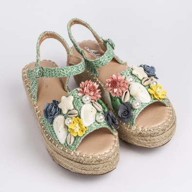 Дамски сандали в зелено с декорация it270320-17 2