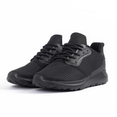 All black мъжки маратонки текстуриран текстил it260520-3 3