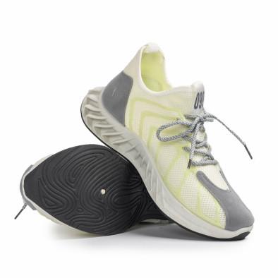 Мъжки бели маратонки жълт меланж gr080621-9 4