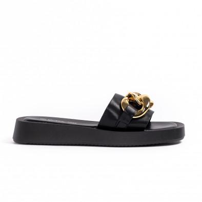 Дамски черни чехли с верига it260521-5 2