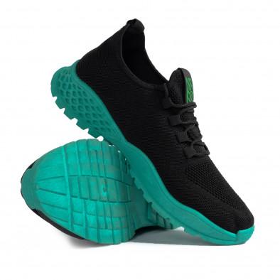 Мъжки леки черни маратонки зелен акцент gr020221-2 5