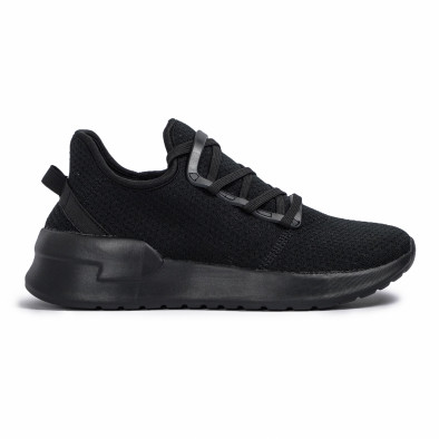 All black мъжки маратонки тип чорап Lace detail it260620-9 2