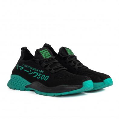 Мъжки леки черни маратонки зелен акцент gr020221-2 4