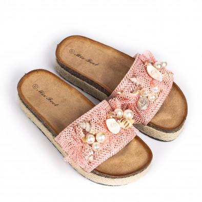 Розови дамски чехли морска декорация it030620-20 3