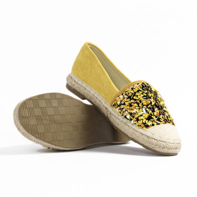 Велурени жълти дамски еспадрили с пайети it270320-12 5
