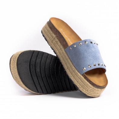 Дамски чехли с капси в синьо it260521-1 4