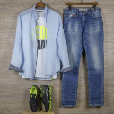 Ленена мъжка риза в светло синьо tr110320-92 5