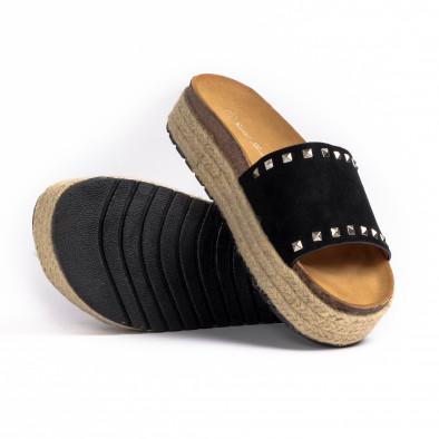 Дамски чехли с капси в черно it260521-3 4