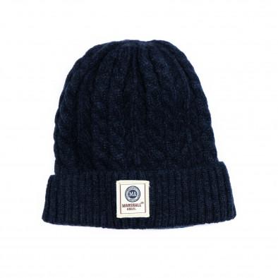 Мъжка синя шапка с плетеници it231220-35 2