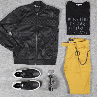 Леко мъжко яке-бомбър в черно tr110320-101 4