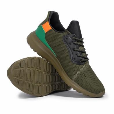Зелени мъжки маратонки текстуриран текстил it260620-8 4