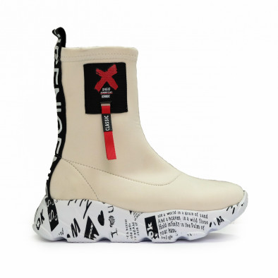 Бели дамски кецове чорап с детайл tr180920-1 2