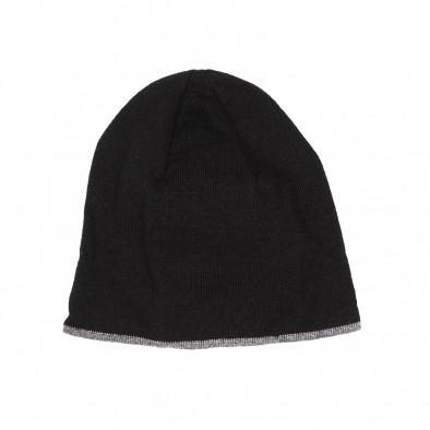 Мъжка черна плетена шапка с кант il161220-1 2