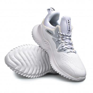 Мъжки текстилни бели маратонки с детайли gr180521-1 4