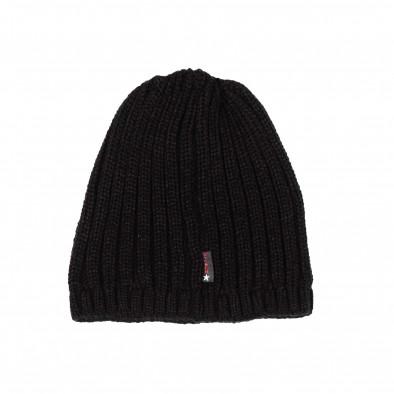 Черна мъжка шапка ластична плетка il161220-6 3