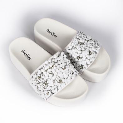 Дамски чехли на платформа бели пайети it030620-15 3