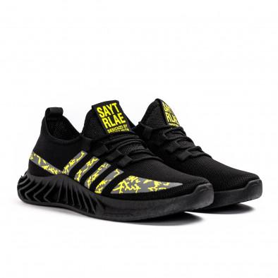 Мъжки текстилни маратонки Black & Yellow gr080621-6 3