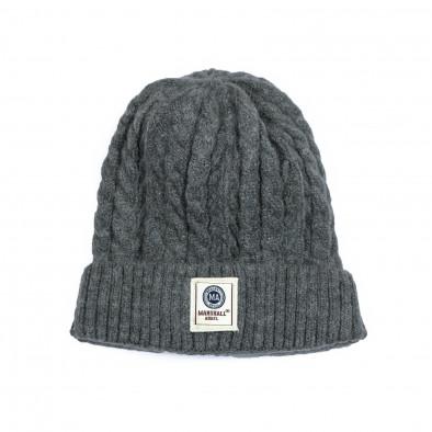 Мъжка сива шапка с плетеници it231220-34 2