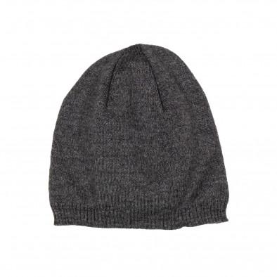 Basic мъжка плетена шапка сив меланж il161220-4 2