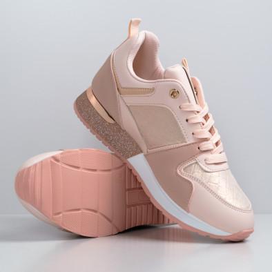 Дамски розови маратонки с фини акценти it110221-7 3