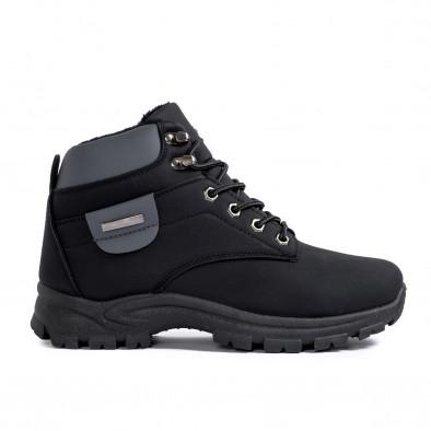 Мъжки черни трекинг обувки с подплата it161220-47 2
