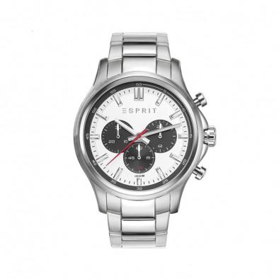 Мъжки часовник Esprit сребрист браслет с черни детайли по циферблата