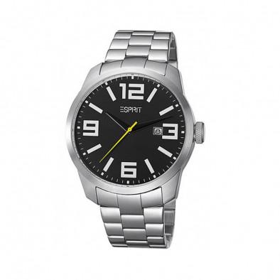 Мъжки часовник Esprit сребрист браслет с жълта стрелка за секундите