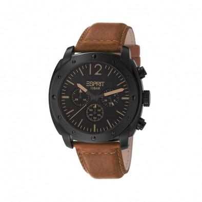 Мъжки часовник Esprit черен с кафява каишка от естествена кожа