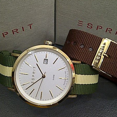 Мъжки часовник Esprit с бежово-зелена текстилна каишка ES108361002 2
