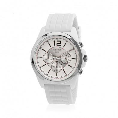 Мъжки часовник Esprit бял с бяла каучукова каишка