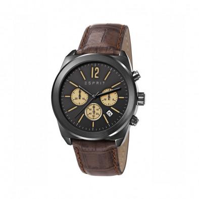 Мъжки часовник Esprit с кафява каишка от естествена кожа