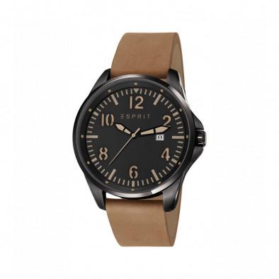 Мъжки часовник Esprit със светло кафява каишка от естествена кожа