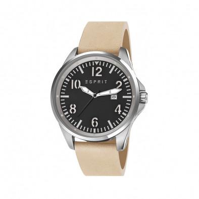 Мъжки часовник Esprit с бежова каишка от естествена кожа