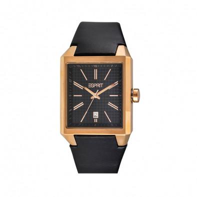 Мъжки часовник Esprit с черна каишка от естествена кожа