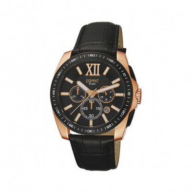 Мъжки часовник Esprit черен със златисти детайли