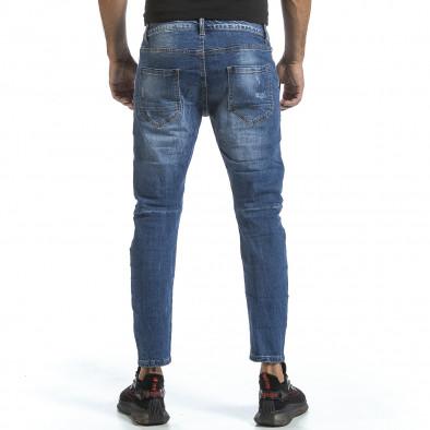Мъжки сини дънки с износен ефект gr070921-18 3