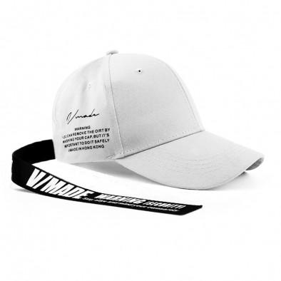 Бяла шапка с козирка и акцент gr240221-6 2