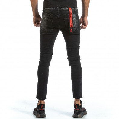 Slim fit мъжки черни дънки с износен ефект gr070921-17 3