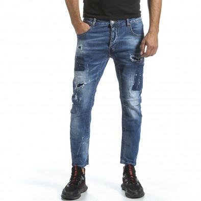 Мъжки сини дънки с износен ефект gr070921-18 2