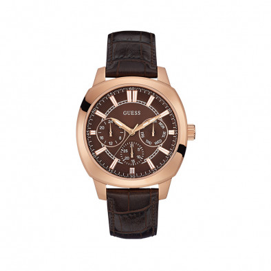 Мъжки часовник Guess с розова позлата на касата и кафяв циферблат