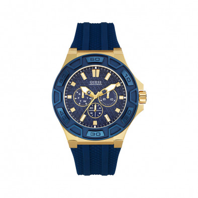 Мъжки часовник Guess син със златисти елементи