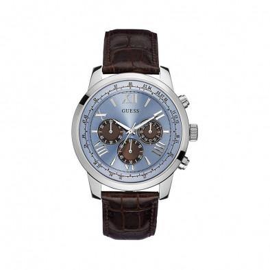 Мъжки часовник Guess с кафява релефна каишка