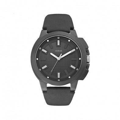 Мъжки часовник Guess с черна каишка от естествена кожа