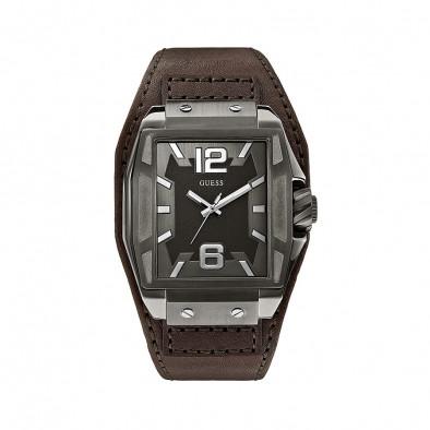 Мъжки часовник Guess с кафява каишка